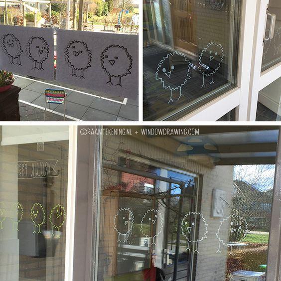 Pasen kuikentjes #raamtekening door Marianne van http://gastouderdezonnegroet.nl