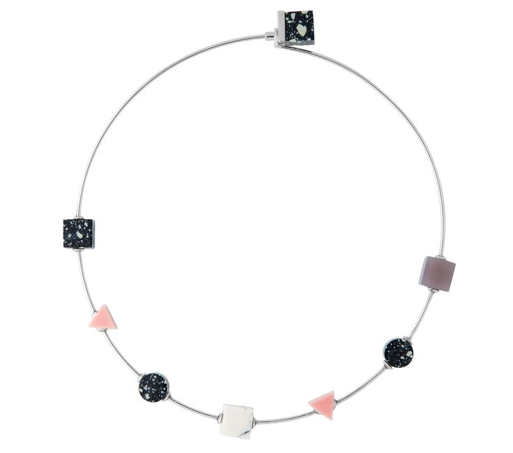 BTS 3 Thin Choker Eshvi Rhodium plated 100% brass choker necklace with pink, grey, black and white resin details The Box Boutique, This Must Be The Place, E-commerce, Fashion, Luxury Brands, Free UK DELIVERY, International Shipping, Buy Now, Jewelry, Women's Fashion