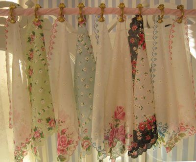 French Laundry blogspot: lovely project using vintage hankies for a pretty valance - extra easy with clips!