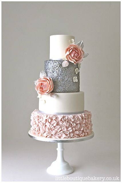 Sequin Ruffles Wedding Cake. Blush pink and silver sequin wedding cake with blush sugar ruffles, edible sequin detail and large pink sugar roses with silver leaf | Little Boutique Bakery