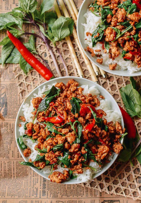 Thai Basil Chicken recipe, by thewoksoflife.com