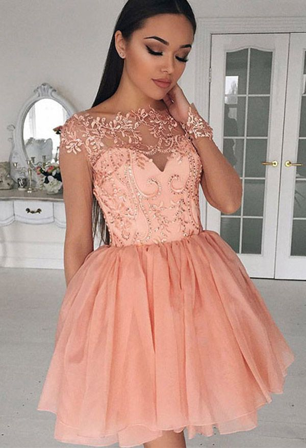 Homecoming Dress,Cute Homecoming Dresses,A-Line Bateau Homecoming Dress,Cap Sleeves Homecoming Dresses,Tulle Lace Homecoming Dresses,Short Homecoming/Prom Dress