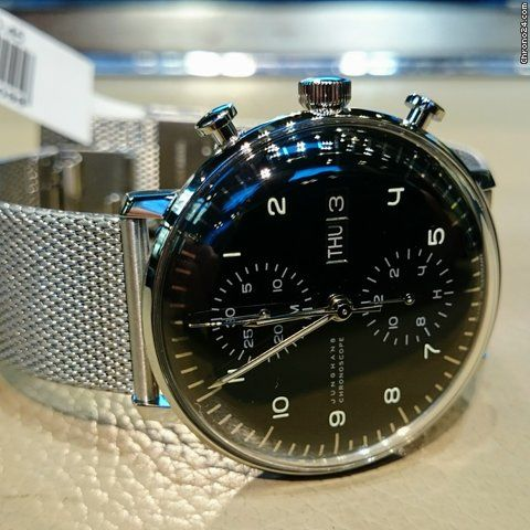 Junghans max bill Chronoscope ad: 12,667 kr Junghans Max Bill Chronoscope Ref. No. 027/4500.44; Steel; Automatic; Condition 0 (unworn); Year 2017; New; With box; With pa