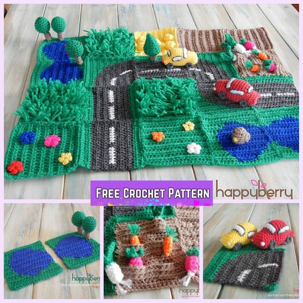 Crochet Road Play Mat Free Pattern For Kids Crochet Toys Free Crochet Toys Free Patterns Crochet Baby Toys