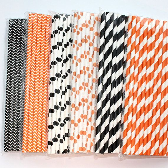 Black or Orange Paper Straws - Chevron, Stripes, or Polka Dots - 25 Count - Fall, Halloween, Bridal Shower, Baby Shower, Wedding, Cake Pops by The Pretty Party Shoppe