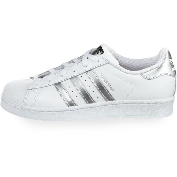 Adidas Superstar Original Fashion Sneaker ($80) via Polyvore featuring shoes, sneakers, lace up sneakers, flat shoes, adidas trainers, lace up flat shoes and leather flat shoes