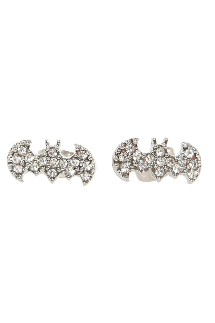 DC COMICS BLING BATMAN LOGO STUD EARRINGS $5.50