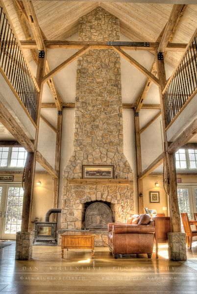 I love homes like this. Exposed wooden beams and stonework. Red Barn House -