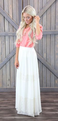 Elegant and trendy white lace lined maxi skirt.  maxi skirt, modest fashion, lace skirt, lace maxi