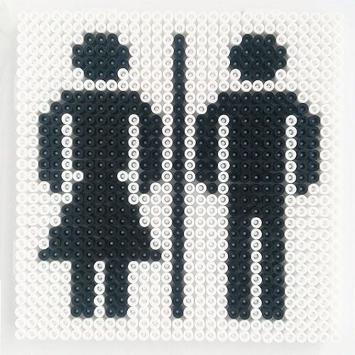 Toilet sign hama perler beads by Hobbyshoppen... would be a fun teacher gift for her bathroom passes. totally washable too!!! add teacher's name to it. make the girl in a girl color, boy in boy color