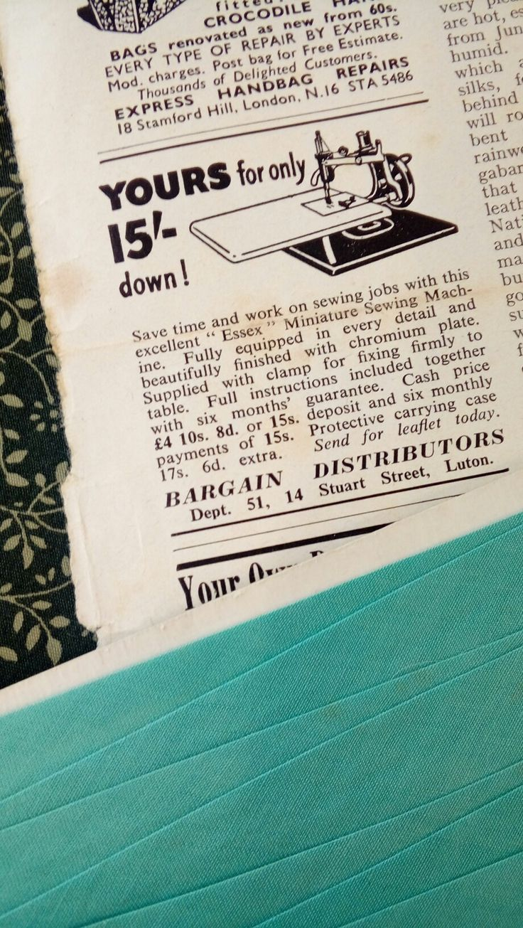 1954 advert for the Essex miniature sewing machine from The Lady magazine.