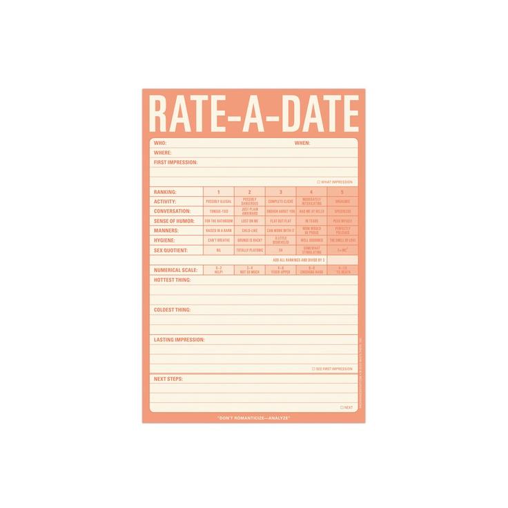 Speed dating scorecard
