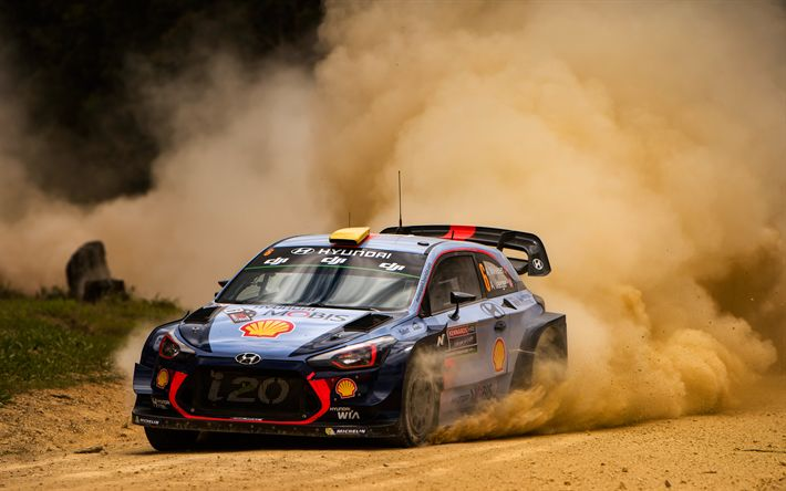 Download wallpapers Andreas Mikkelsen, Anders Jaeger, 4k, WRC, FIA world rally, Hyundai i20 WRC, rally