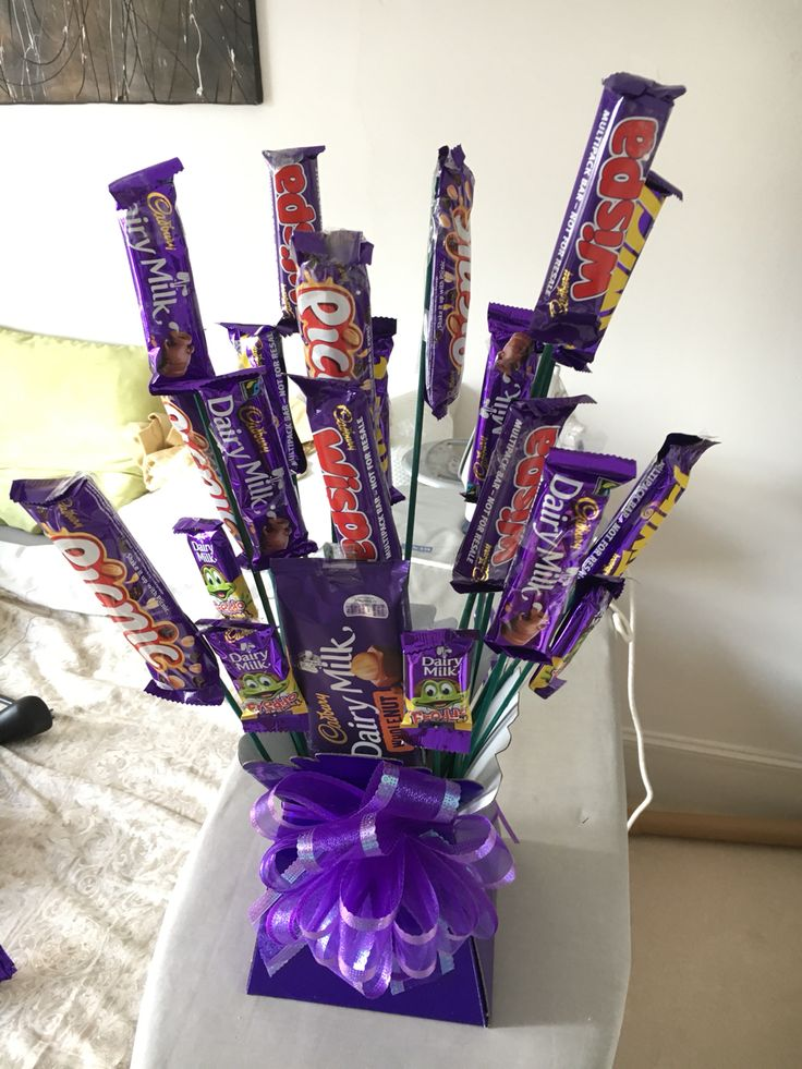 bouquet of chocolate -  4th wedding anniversary - traditional gift is flowers but I knew he'd like this more