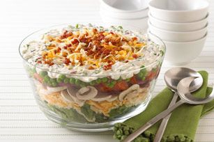 Layered Summer Salad: Chee Recipes, Summer Salad Recipes, Layered Salad Recipes Kraft, Layered Summer, Chee Allrecipes Com, Shredded Chee, Kraft Chee, Cheese Recipes, Jello Salad