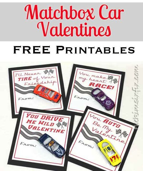 Matchbox Car Valentines.. made with dollar store cars. (Includes four Free Printable Versions) via TheKimSixFix.com