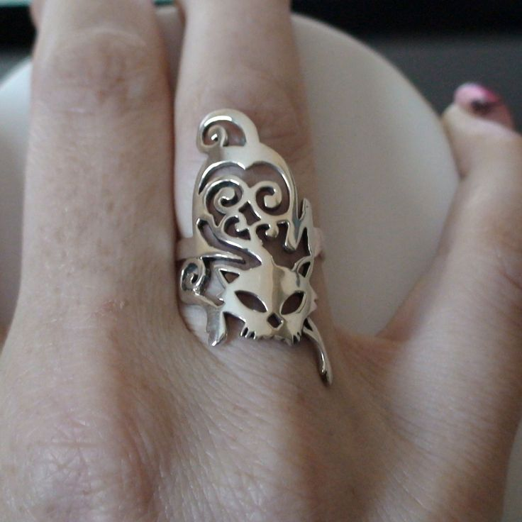 Creeping Cat Ring 925 Sterling Silver Cocktail Right Hand Cat Jewelry New | eBay