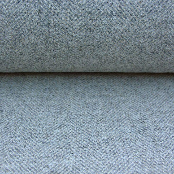 Wool Herringbone Curtain Fabric Storm Grey