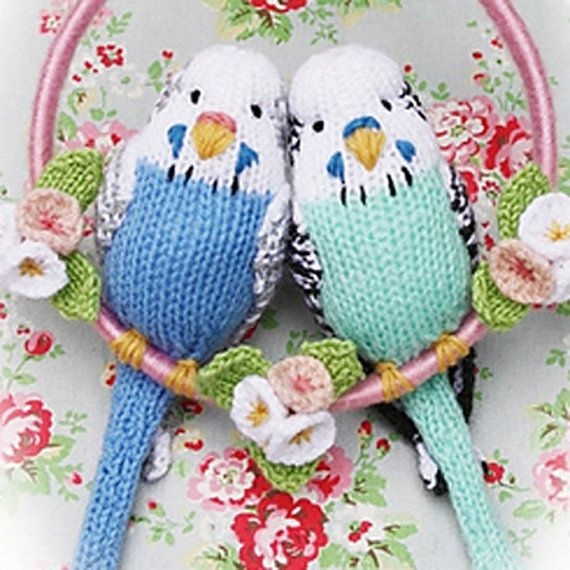 budgies knitting pattern budgerigar  PDF email toy by BunnyFriends, $3.00