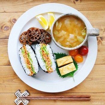 たくさんの野菜を煮込んだスープは栄養満点♪洋食で使うことの多いスープカップも素敵な和ンプレートになります。