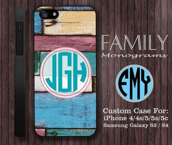 colorful wood monogram hard plastic case for by familymonogram, $15.99