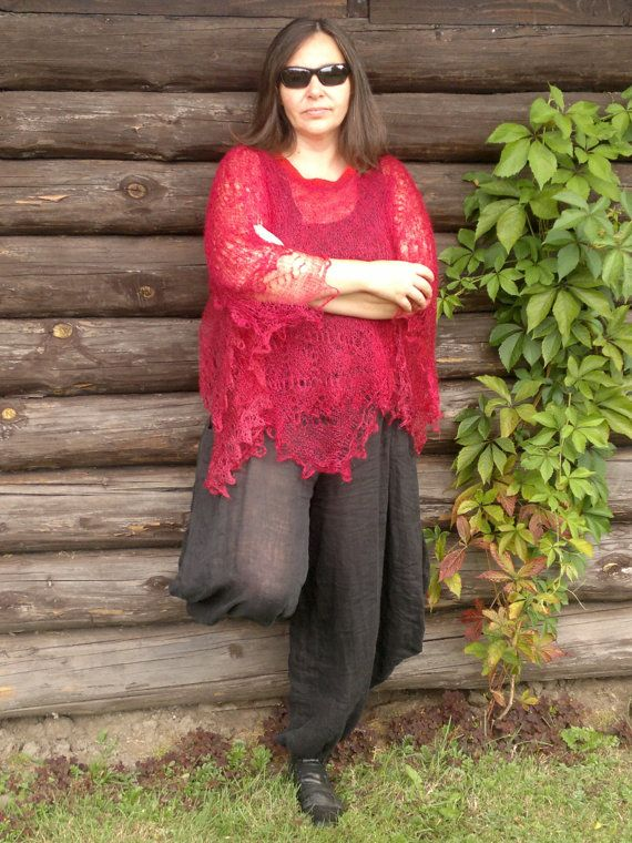 Handmade poncho of two Cashmere scarfs originaly from Nepal