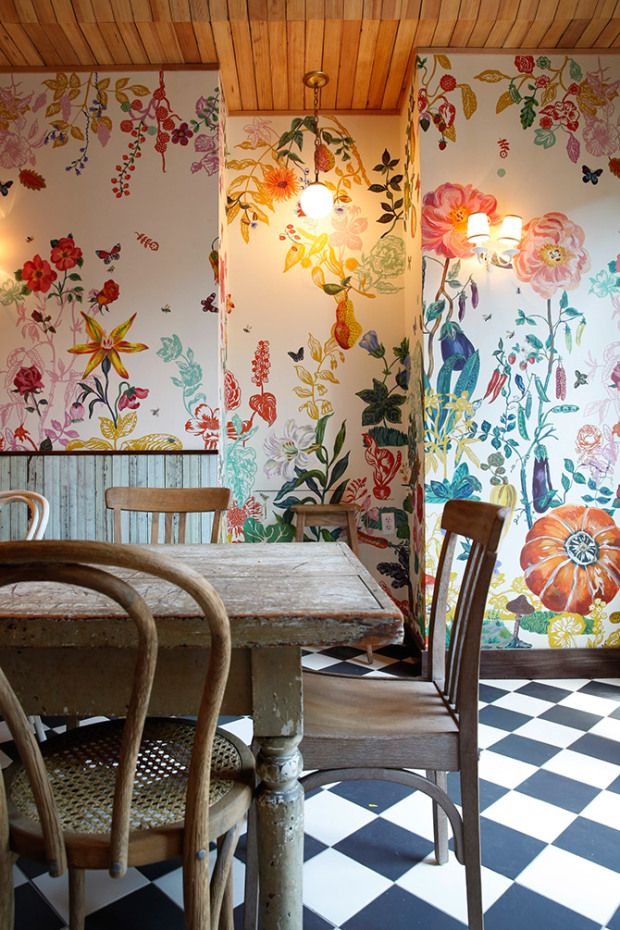 Beautiful floral hand painted walls.