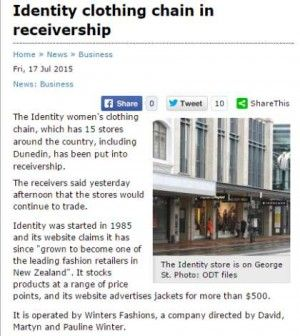 """The Identity women's clothing chain, which has 15 stores around the country, including Dunedin, has been put into receivership. The receivers said yesterday afternoon that the stores would continue to trade.  Identity was started in 1985 and its website claims it has since """"grown to become one of the leading fashion retailers in New Zealand"""". It stocks products at a range of price points, and its website advertises jackets for more than $500."""