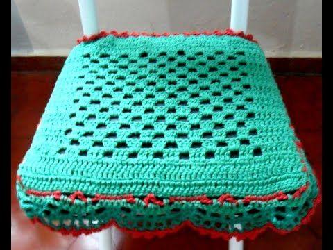 Capa para assento de cadeira Em Crochê Parte final - YouTube
