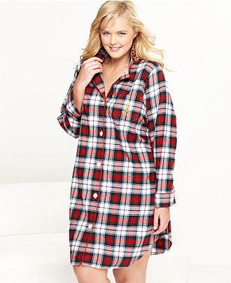 Lauren Ralph Lauren Plus Size Sleepshirt, Brushed Twill Sleepshirt - Plus Size Pajamas & Robes - Plus Sizes - Macy's