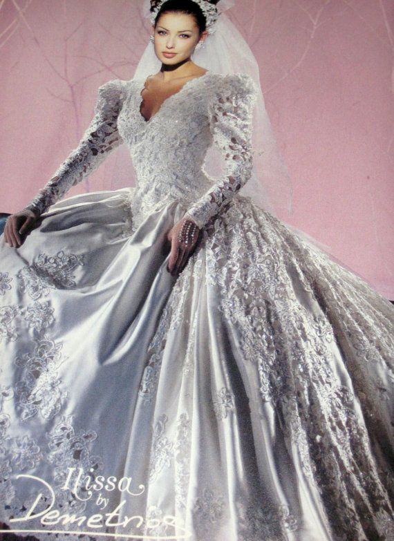 I think this is the wedding dress I tried on and loved but I was getting married in June..... There was no way.  I didn't keep a picture of it and always wished that I had.  If this isn't it, it is certainly close!          Early 90s Magazine Ads for Demetrios by SomewhereInTimeStuff, $4.95