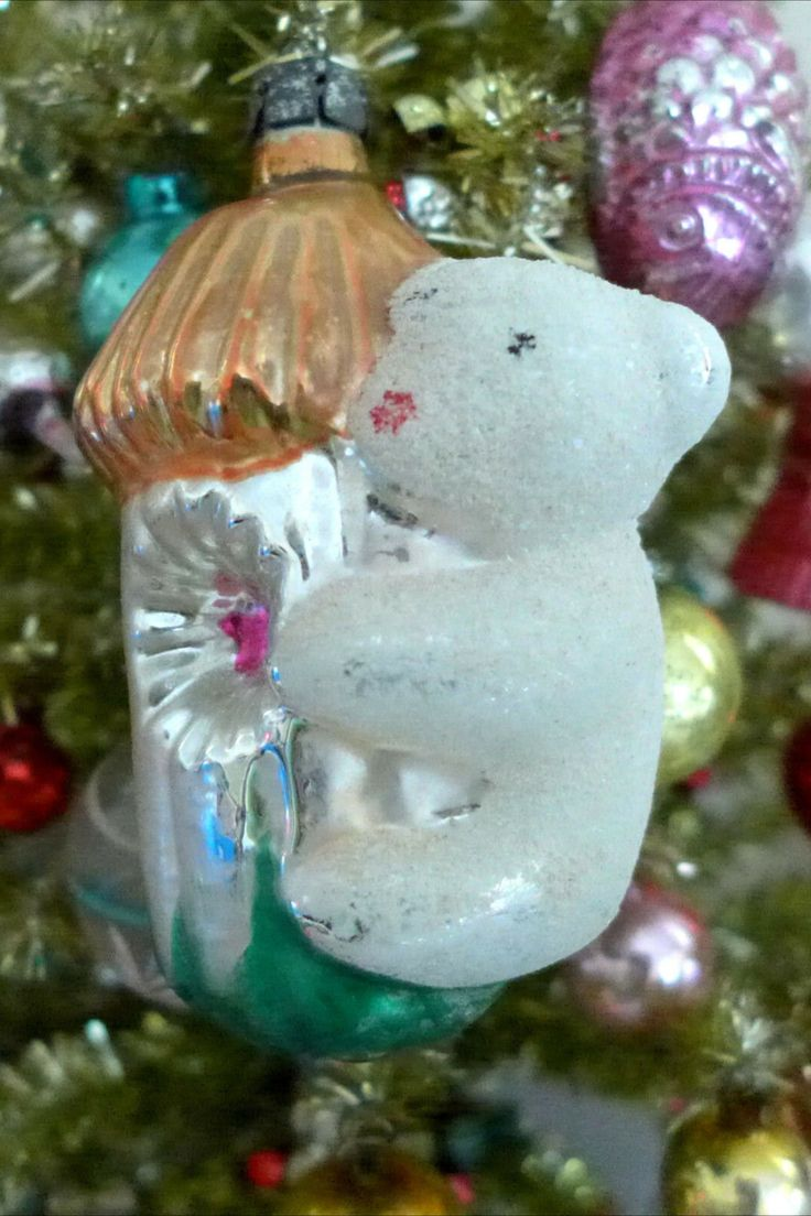 Vintage Antique White Mica Koala Bear Embossed Christmas