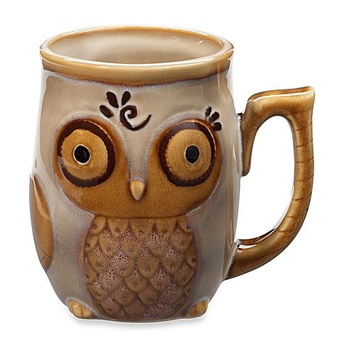 Gibson Home Nature's Owl 12-Ounce Mug in Cream