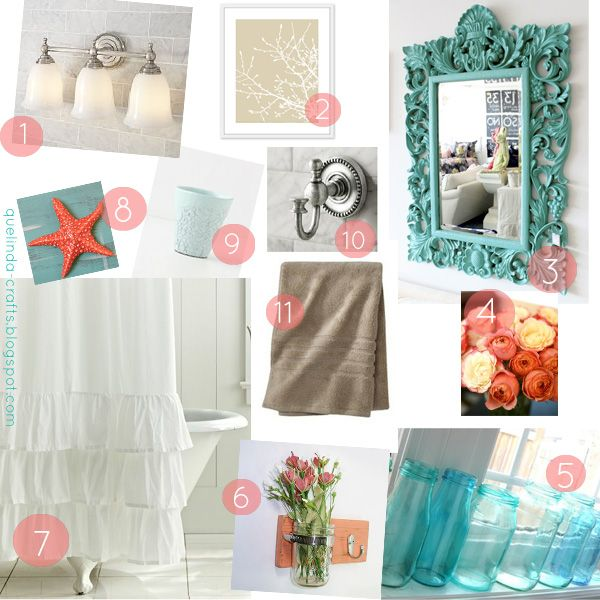 37 Best Images About Coral/Turquoise Bathroom On Pinterest