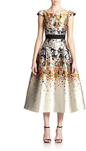 Sachin & Babi Noir Nectar Confetti-Print Satin Dress