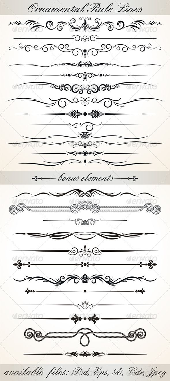 Ornamental Rule Lines - Characters Vectors