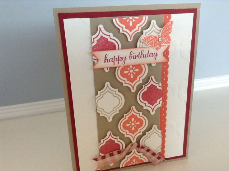 Birthday card handmade with Stampin Up Mosaic madness stamp set, embossing folder and corresponding punch.