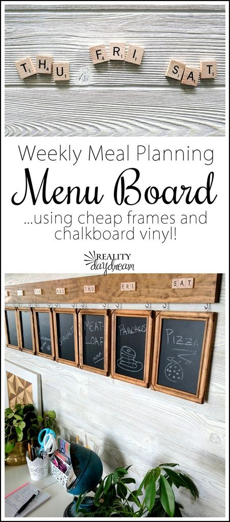 Weekly Meal Planning Menu Board... using cheap frames and chalkboard vinyl! {Reality Daydream}