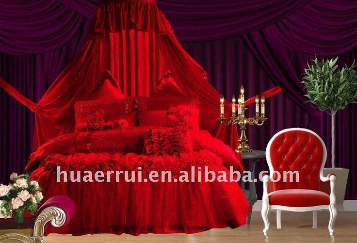 10 pcs luxury red lace Chinese wedding bedding set