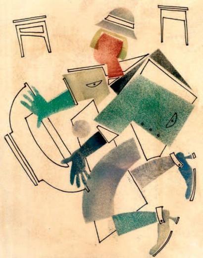 ATTRIBUÉS À VLADIMIR LEBEDEV (1891 - 1967) La chute Pochoir, encre at aquarelle 33 x 24 cm