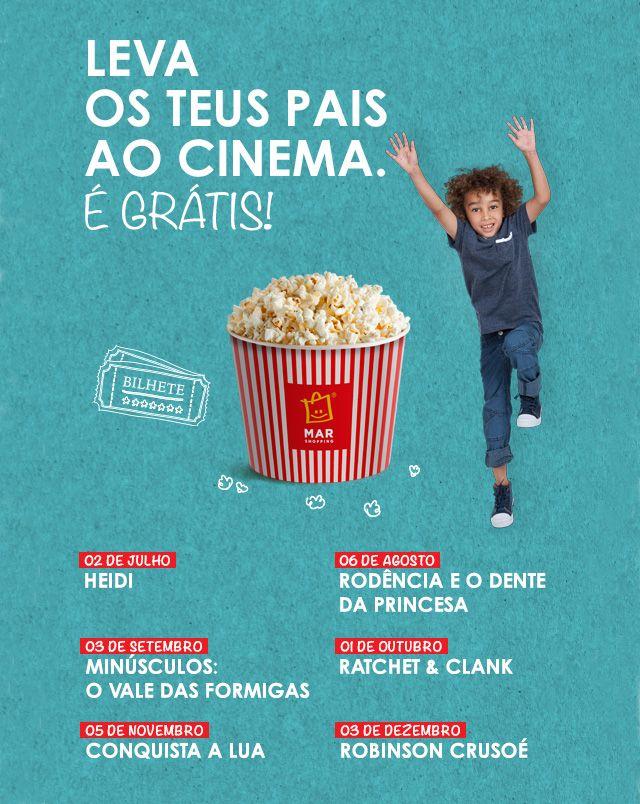 Sessões Grátis de Cinema Infantil: De Julho a Dezembro de 2016, crianças dos 3 aos 12 anos e acompanhantes não pagam bilhete nos Cinemas NOS do MAR Shopping