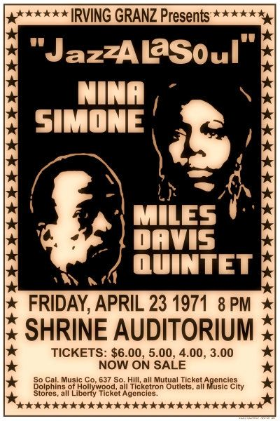 MILES DAVIS 1971 Concert POSTER with Nina Simone  Jazz