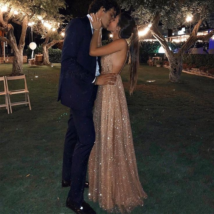 Sexy Backless Spaghetti Straps Prom Dress with Sequins Long Champagne Evening Dress – Dressestime.com