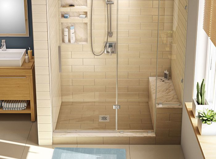 Base'N Bench.  Redi shower kit comes with a bench and shower pan sized to work together.