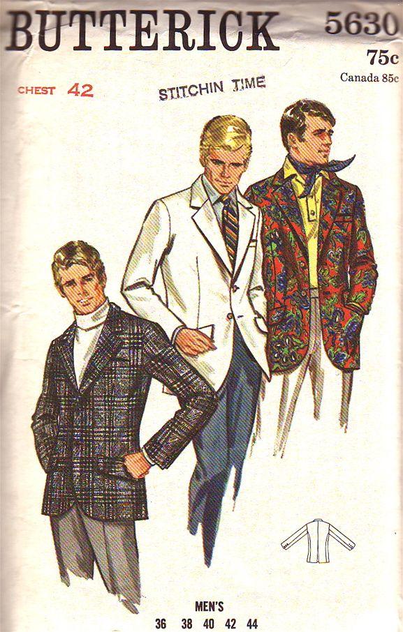 Men Suit Coat Sewing Patterns | butterick pattern 5630 vintage mens suit coat blazer jacket for size ...