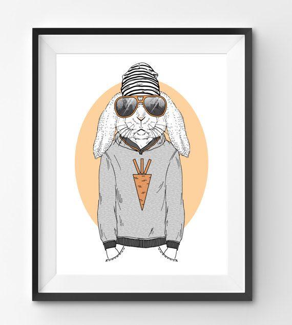 Male Rabbit Animal Print Fashion Animal Rabbit Digital