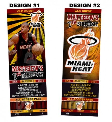 Miami Heat Ticket Birthday party invitations - Printable | BLiTzDesignz - Digital Art  on ArtFire