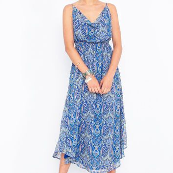 Tried and True Cowl Neck Paisley Low Back Midi Dress - Blue