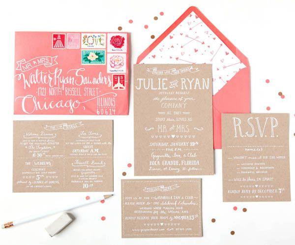 Julie + Ryanu0027s Kraft And Coral Wedding Invitations