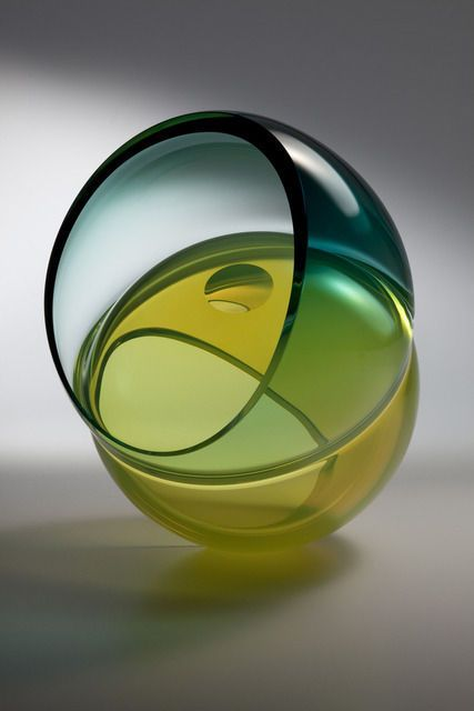 John Kiley Precarious Curved Form with Lens, 2011 Blown, carved, and polished glass